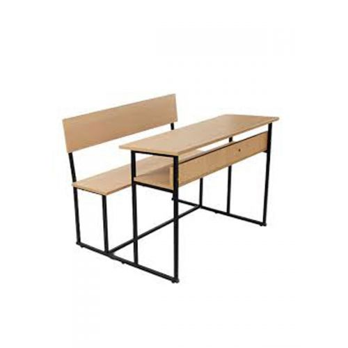 dual seater with metal frame and wooden top for table top and seat