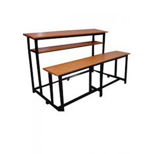 Dual seater desk with wooden top and metal frame . without back rest.
