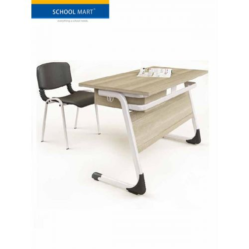 Desk and chair combo with wooden top and modesty panel