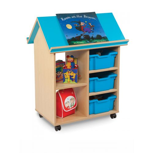 Theme book storage with 3 trays and open toy storage