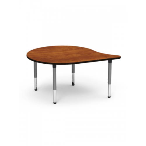 Desk with adjustable height and wooden top