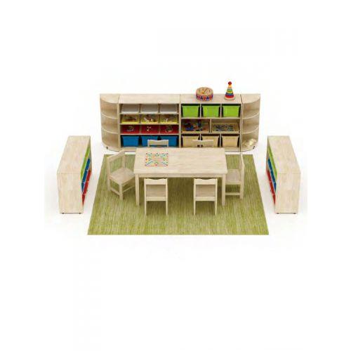 6 seater kindergarten furniture combo, 2 toy storages, 2 book storages, 2 corner units