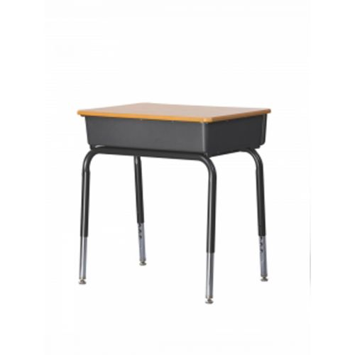 student desk with book storage