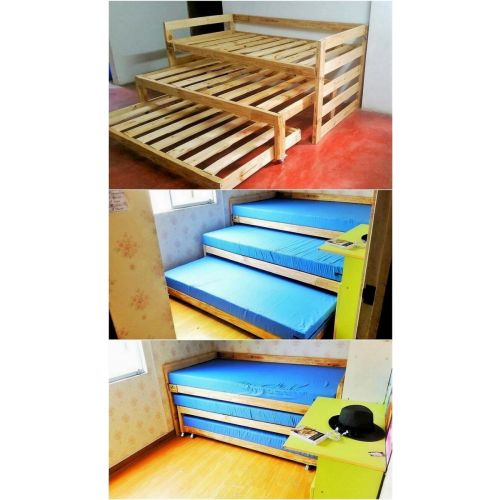 triple bunk beds made of seasoned and dried pine wood