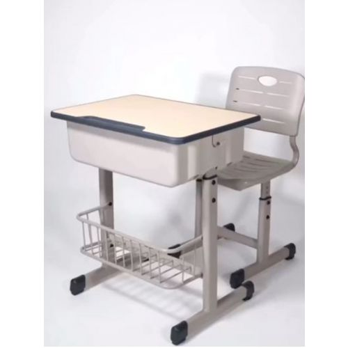 Adjustable height metal frame chair and desk combo