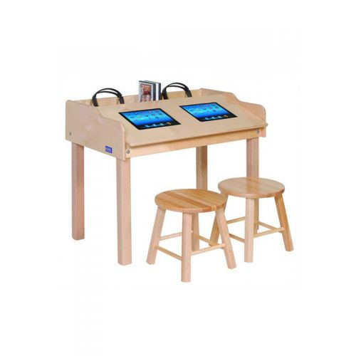 """TABLET LAB desk made of solid pine wood for 10"""" or 8"""" tablets [without gadgets]"""