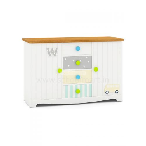 Theme storage cabinet with shutter