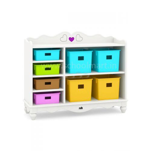 Theme toy storage with 6 racks with trays